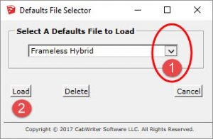 Defaults File Selector - Choose Frameless with the Drop Down