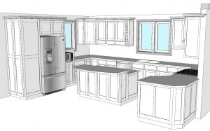 CabWriter Comprehensive Kitchen in Face Frame Style and NW Perspective View.