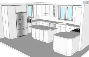 CabWriter Comprehensive Kitchen in Frameless Style and NW Perspective View.
