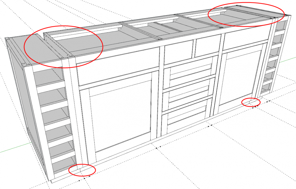 Three Separate Cabinets - A 3-Box Cabinet Sandwiched By Two Wine Cabinets.